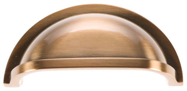 "Williamsburg Satin Rose Gold Cup Cabinet Pull, 3"" traditional-cabinet-and-drawer-handle-pulls"
