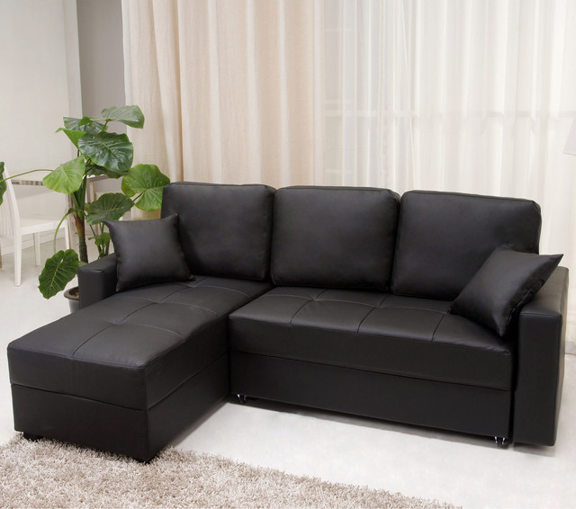 ... Black Convertible Sectional Storage Sofa Bed contemporary-sofa-beds