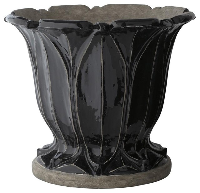 Lazy Susan Black Fontaine Planter Large Traditional
