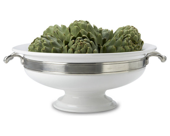 "Match - Match Convivio Round Centerpiece with Handles - This Match Pewter Convivio round centerpiece boasts an elegant combination of pewter and porcelain and is fitted with pewter handles. Fill it with fresh fruit or flowers to make an elegant centerpiece of your dining table.  All Match Pewter is lead free, food safe, and dishwasher safe at low temperatures. Measures 15"" Diameter x 6.5"" H."