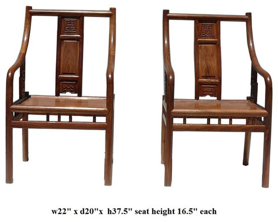 Pair Chinese African Rosewood Modern Fusion Style Accent Armchairs - This is a pair of modern Chinese armchairs with combination of Asian and modern design using the natural solid wood. The African rosewood has nice yellowish brown wood color and charming wood grain. They are elegant and clean for home or office furnishing.