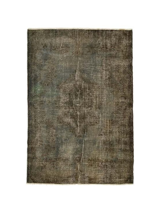 Over-dyed Anatolian Vintage Rug - This piece is an Over-dyed Anatolian Vintage Rug created by first neutralizing the colors and then over-dying to achieve a contemporary effect and bring old hand-made rugs back to life. The result is almost like an abstract painting.