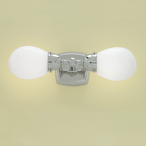 Soft Square Chrome Two Light Double Horizontal Wall Sconce modern-wall-lighting