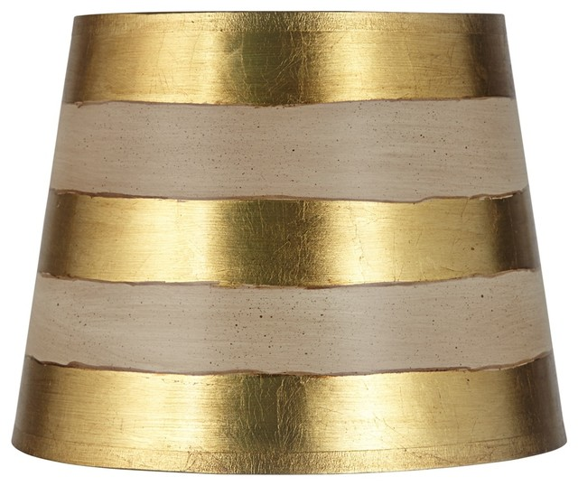 Gold Stripe Paper Drum Lamp Shade 10x13x10 (Spider) - Contemporary - Lamp Shades