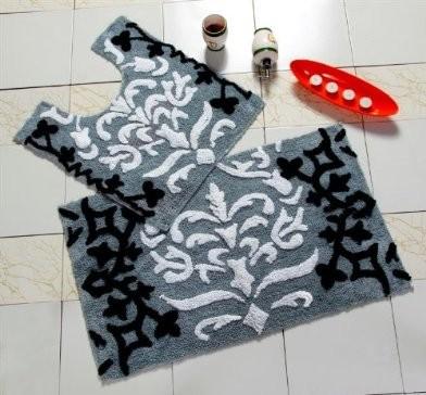 Black damask bathmat sets modern bath mats other for Black and white damask bath mat