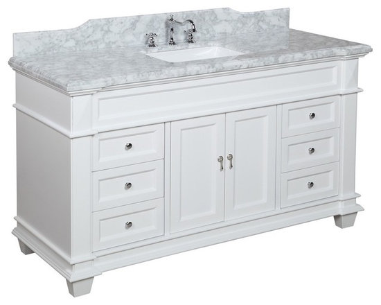 Kitchen Bath Collection - Elizabeth 60-in Single Sink Bath Vanity (Carrara/White) - This bathroom vanity set by Kitchen Bath Collection includes a white cabinet with soft-close drawer and self-closing door hinges, Italian Carrara marble countertop with stunning beveled edges (an incredible 1.5 inches thick at the edge!), undermount ceramic sink, pop-up drain, and P-trap. Order now and we will include the pictured three-hole faucet and a matching backsplash as a free gift! All vanities come fully assembled by the manufacturer, with countertop & sink pre-installed.