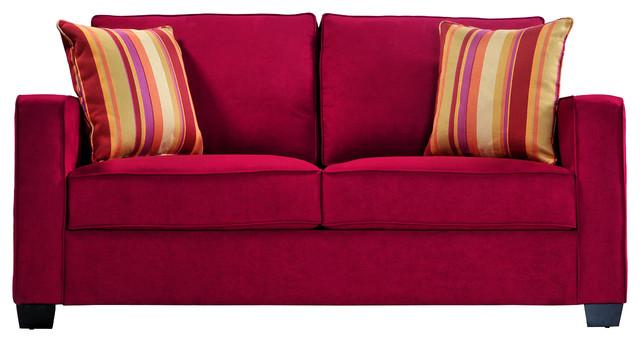 Portfolio Madi Crimson Red Microfiber Sofa with Wine Striped Accent Pillows contemporary-sofas