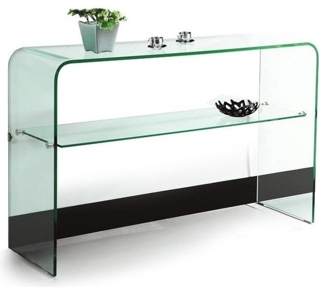 Modern clear bent glass console table with shelf