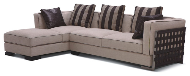 Classic Style Two Pieces Fabric Sectional with Striped Pillows modern-sectional-sofas