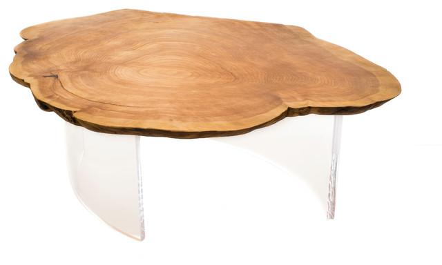 1970 Table Cedar Burl On Acrylic Legs Contemporary