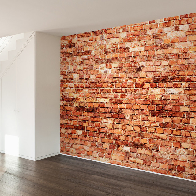 Brick exterior wall mural decal contemporary wall decals for Brick wall mural