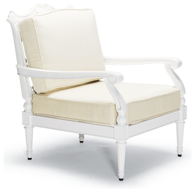 Glen Isle Outdoor Lounge Chair with Cushions in White Finish Patio Furniture