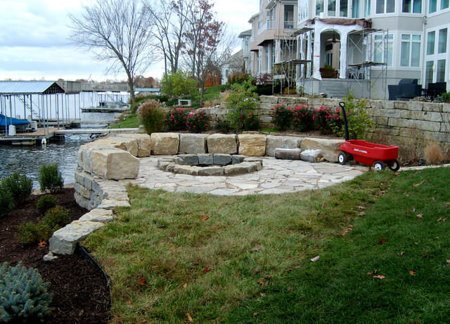 Fire pit by the lake traditional