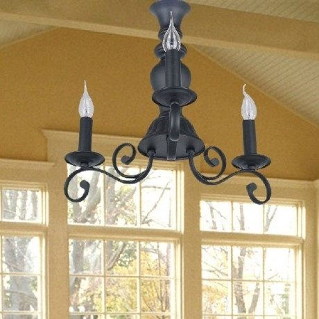 JollyHome High Quality Black Wrought Iron Pendant Lights Three Head modern-pendant-lighting