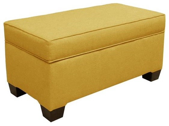 Custom Alder Upholstered Storage Bench 18 Hx36 Wx18 D French Yellow Linen Traditional