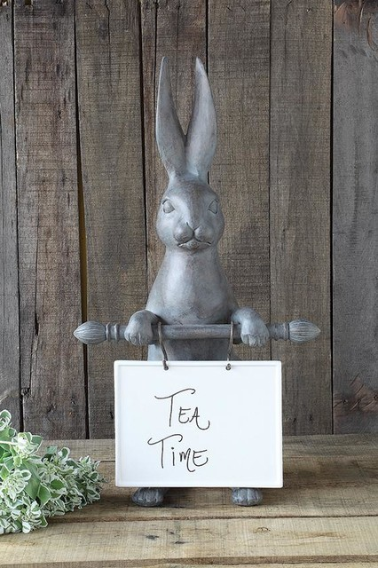 Bunny ceramic message board traditional home decor for Rabbit decorations home