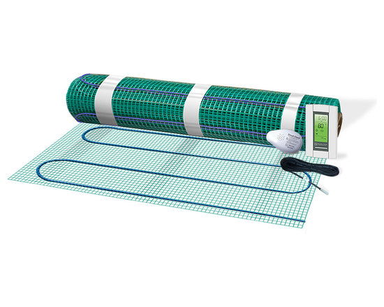 Warmly Yours - WarmlyYours Floor Warming Mat Kit with SmartStat, 40.5 sf.Ft. - 120V - The TempZone Floor Warming Kits are an electric floor heating systems that can be installed easily under ceramic tile, natural stone, hardwood, wood, and other floor coverings. TempZone consists of a heating cable secured onto a green mesh fabric, the heating cable is placed in a serpentine loops always staying 3 inches apart to produce a even heat throughout the flooring area. The kit includes a 1.5'X27' floor heating system to cover 40 Sft (120 v), a Programmble thermosat and a circuit check.