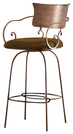Artisan Home Barstools Swivel Hand Forged Arm Barstool W Microfiber Seat 30 Traditional