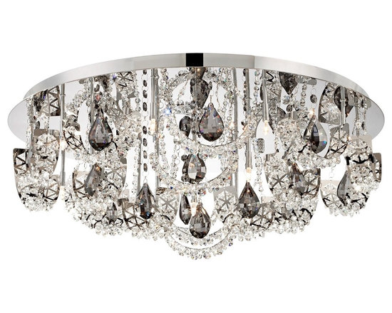 """Possini Euro Design - Possini Euro Half Rings 25"""" Wide Crystal Ceiling Light - An array of shimmering crystals hang from the round canopy of this chrome flushmount ceiling light. Charcoal crystal pendants dangle amongst metal half rings adorned with clear K9 crystals. Sixteen bright halogen bulbs offer plentiful illumination. From Possini Euro Design. Chrome finish metal. Clear and charcoal crystals. Includes sixteen 20 watt G4 halogen bulbs. 25 1/2"""" wide. 9 1/2"""" high.  Chrome finish metal.   Clear and charcoal crystals.    Includes sixteen 20 watt G4 halogen bulbs.   25 1/2"""" wide.   9 1/2"""" high.  Takes a Low Voltage dimmer."""