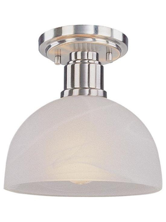 Joshua Marshal - Three Light Brushed Nickel White Swirl Glass Bowl Semi-Flush Mount - Finish: Brushed Nickel