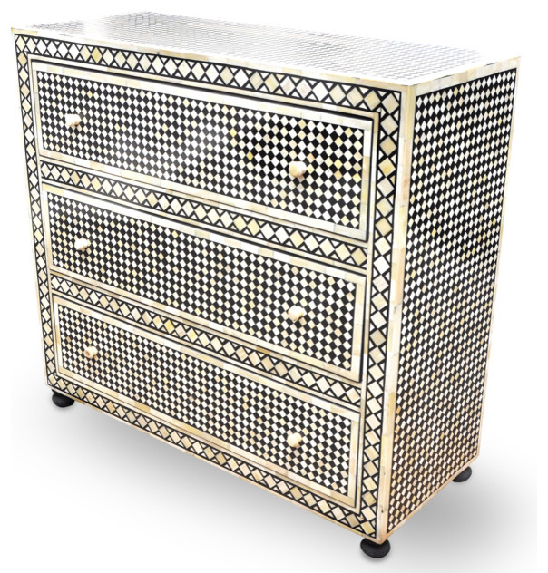 Black Diamond Inlay Chest Of Drawers Eclectic Dressers