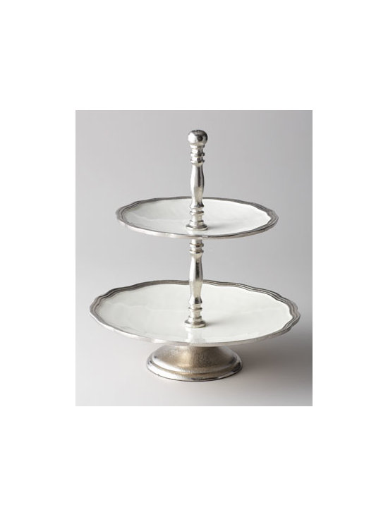 Horchow - Deville Two-Tier Footed Stand - Both elegant and traditional, this two-tier serving stand adapts well to serving cheese, savory tidbits, appetizers, desserts, and more. It could become your favorite, go-to entertaining accessory. Made of enamel edged with molded, distressed aluminum....