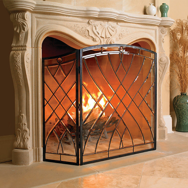 Victoria glass fireplace screen traditional fireplace accessories by frontgate - Houzz fireplace screens ...