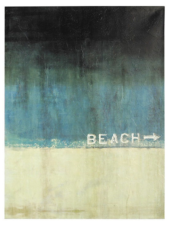 Ballard Designs - Beach This Way Stretched Canvas - Fine art giclee reproduction on canvas stretched over wood frame. Hand applied acrylic finish produces the texture of the original. This ocean blue horizon by Samantha Carlisle makes it feel like the beach is just around the corner. Digitally printed on gallery-wrapped canvas. Available in Stretched Canvas with an acrylic glaze finish hand applied by palette knife to recreate the texture of the original or in Glass Coat Canvas with a high gloss epoxy finish hand poured over the canvas in a multi-step process to achieve a smooth glass-like coating with luminous quality and greater depth and dimension. Stretched Canvas features: . . Glass Coat Canvas features:. Epoxy, resin-based glass coat application produces a smooth and glossy, glass-like finish. Durable and protective finish acts as a moisture-resistant protective sealer, protecting from warping or sagging, ensuring the lasting beauty of the artwork.