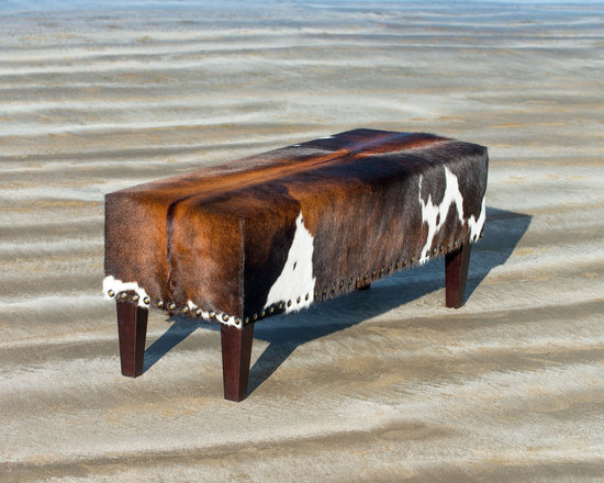 Gorgeous Creatures New Zealand - Cowhide ottoman with studs - A beautiful tri-color brown cowhide ottoman (120x40x45cm) made for a customer in Japan. This ottoman was designed to be used at the foot of a bed. The stud details give it a more traditional look.