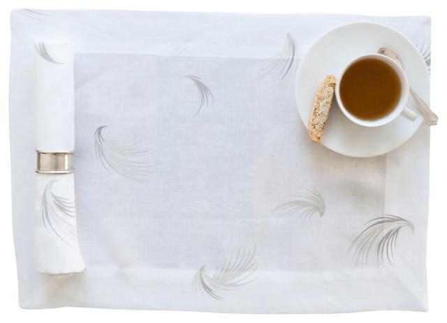 White Linen Napkin with Feather Print (Set of Four) contemporary-napkins