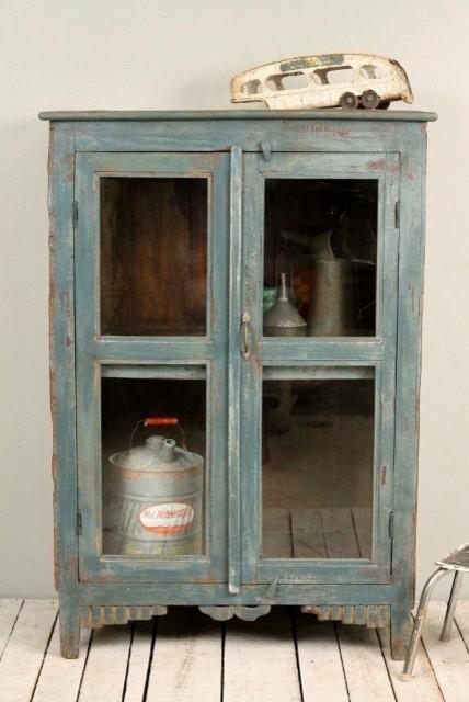 Dark Blue Green Glass Storage Kitchen B farmhouse kitchen cabinets