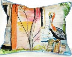 Coastal Pelican Indoor / Outdoor Rectangular Pillow modern-outdoor-cushions-and-pillows