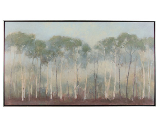 Ethan Allen - Early Morning Treeline - Misty mornings in nature. This elongated gicl?e on canvas is stretched onto a solid wood substrate and then mounted into a thin, float-style frame. The frame's edge is finished in a lightly antiqued faux silver leaf, with the recess finished in an espresso hue. An Ethan Allen exclusive, by American artist Kim Coulter.
