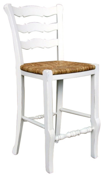 French Country Ladder Back Counter Stool White