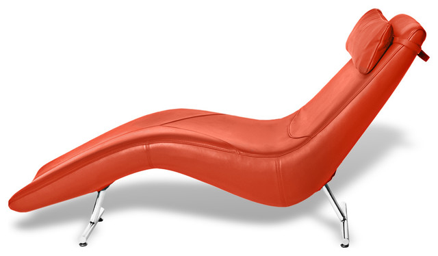 Camille leather lounge chaise orange contemporary for Chaise longue orange