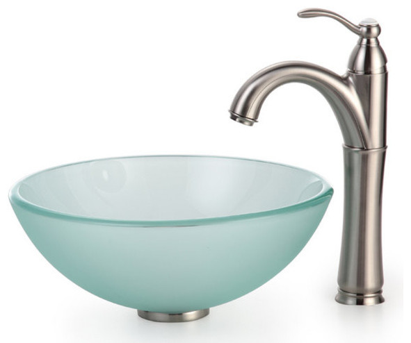 """Kraus C-GV-101FR-14-12mm-1005SN Satin Nickel Frosted 14"""" Frosted Glass contemporary-bathroom-sinks"""