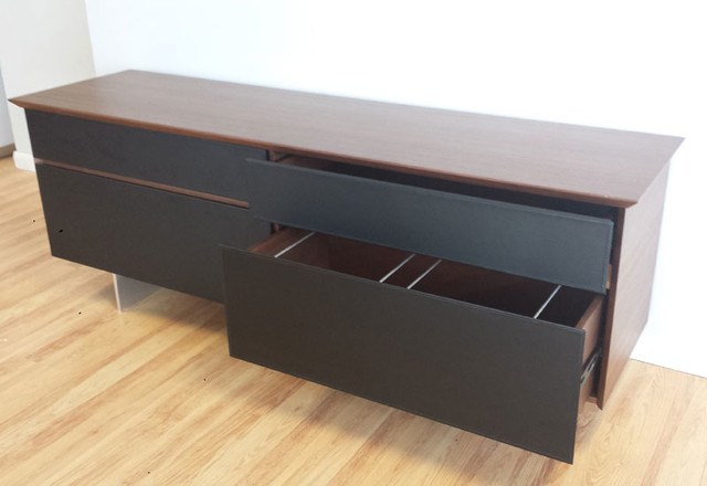 Avenue Storage Credenza in Walnut & Black Leather - Modern - Filing Cabinets - miami - by Axis ...