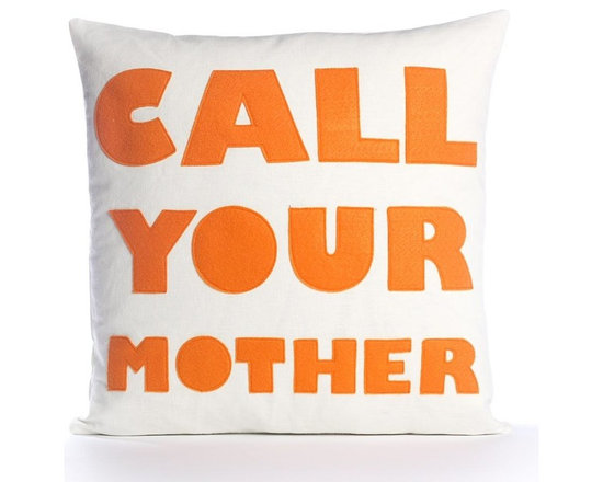 Alexandra Ferguson - Alexandra Ferguson Call Your Mother Pillow-Cream/Orange - Recycled polyester fill insert included. The felt that I use is made from 100 percent post consumer recycled water bottles. So, you drink water, throw the empty bottle in the recycling bin. Then they are melted down and turned them into this beautiful, really high quality soft felt that I then use to make pillows. All pillows have a nylon zipper closure, with the alexandra ferguson logo embroidered on the center back bottom. Prefer a woven fabric base? Opt for our hemp blend - this imported fabric is 55% hemp / 45% organic cotton, is sustainable and biodegradable, and made from socially responsible practices.