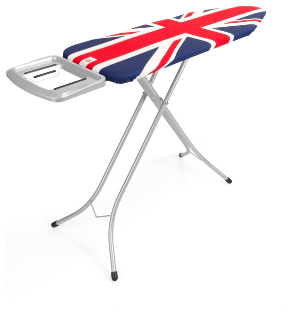 Brabantia Ironing Table, Solid Steam Iron Rest, Metallic Grey Frame, Union Jack modern-ironing-boards