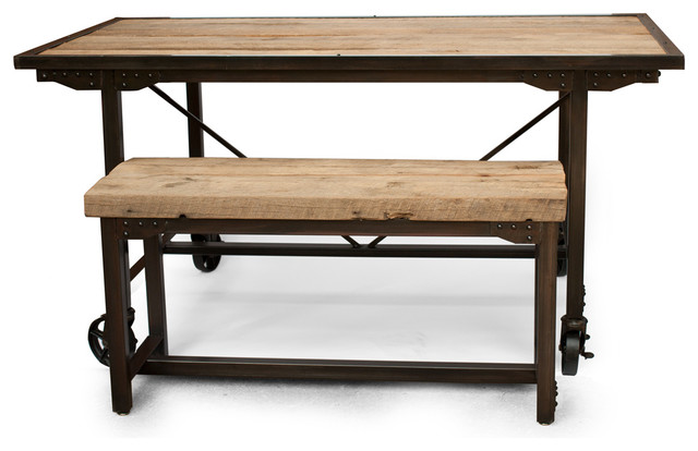 Farmhouse Reclaimed Wood Dining Room Table And Bench Dining Tables