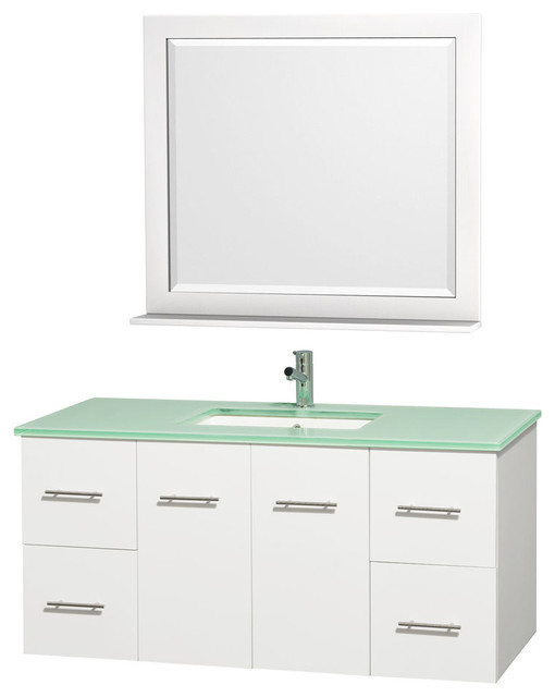 Centra Vanity 48in. in White w/ Green Glass Top & Square sink modern-bathroom-vanities-and-sink-consoles