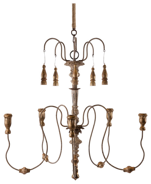 Grace 5 Candle Curled Iron French Country Candle Chandelier transitional-chandeliers