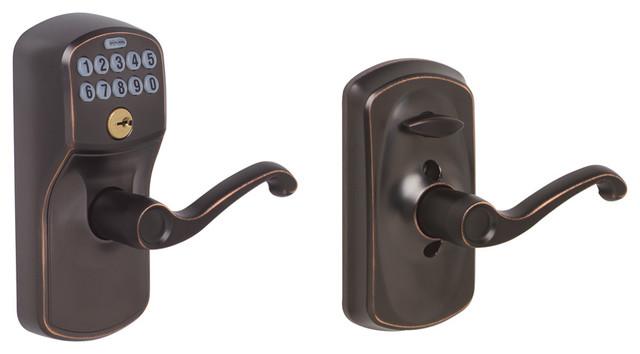 Schlage Plymouth Keypad Entry w/ Flex-Lock & Flair Lever in Aged Bronze modern-door-hardware
