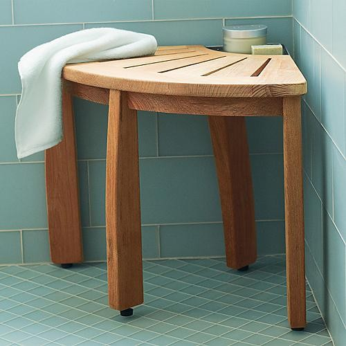 Corner Shower Seat With Basket, Brown contemporary-bathroom-accessories