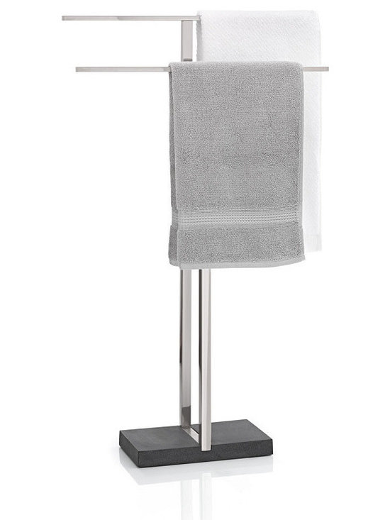 Blomus - Menoto Towel Stand, Matte - An accoutrement of many European grand hotels, this freestanding towel rack presents your towel as you step out of the shower. This one is designed for discretion, to slide into smaller bathrooms without a fuss.