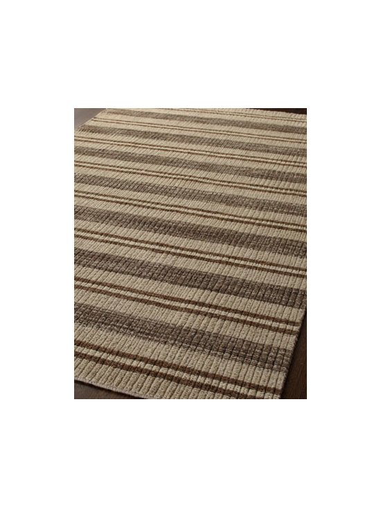 Horchow - Erin Stripe Rug, 5' x 8' - Stripes in neutral shades of brown make this rug a perfect addition to any room. Hand loomed of wool. Size is approximate. Imported.
