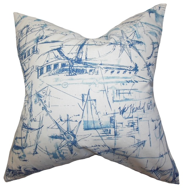 Throw Pillows Coastal : Hobson Coastal Pillow Blue - Beach Style - Decorative Pillows - by The Pillow Collection Inc.