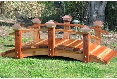Redwood Short Post 6 ft Garden Bridge Modern Outdoor
