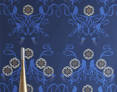 Captain Smith Hand-Printed Wallpaper, Promenade eclectic-wallpaper