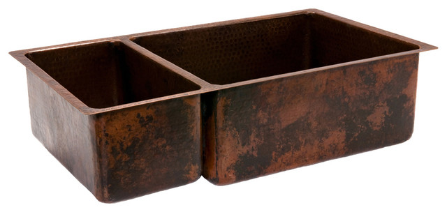 "33"" Copper Kitchen 25/75 Double Basin Sink rustic-kitchen-sinks"